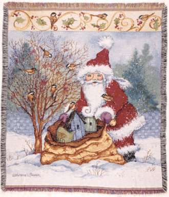 Christmas Chickadee Tapestry Throw
