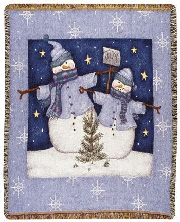 Even Snowmen Get The Blues  Tapestry Throw