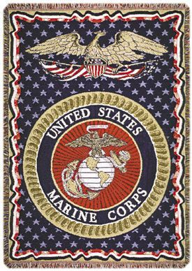 US Marines Tapestry Throw Blanket